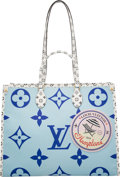"""Luxury Accessories:Bags, Louis Vuitton Limited Edition Giant Blue Monogram Coated Canvas Hamptons Onthego Bag. Condition: 3 . 16"""" Width x 12.5""""..."""