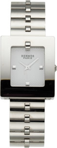 """Luxury Accessories:Accessories, Hermès Stainless Steel Bracelet Watch. Condition: 3. 7.5"""" Circumference . ..."""