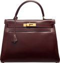 Luxury Accessories:Bags, Hermès Vintage 28cm Rouge H Calf Box Leather Retourne Kelly Bag with Gold Hardware. K Circle, 1981. Condition: 4. ...