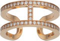 Luxury Accessories:Accessories, Hermès Rose Gold Ever Chaine d'Ancre Diamond Ring. Condition: 2. Size 53. ...