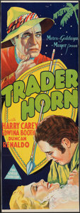 "Movie Posters:Adventure, Trader Horn (MGM, 1931). Folded, Fine-. Trimmed Australian Pre-War Daybill (13.5"" X 36.75""). Adventure.. ..."