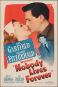 """Movie Posters:Film Noir, Nobody Lives Forever (Warner Bros., 1946). Folded, Fine/Very Fine. One Sheet (27"""" X 41""""), Title Lobby Card & Lobby Card (11""""... (Total: 3 Items)"""