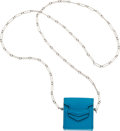 """Luxury Accessories:Accessories, Hermès Limited Edition Blue Izmir Swift Leather Miniature Faco Bag on Chain Necklace. A, 2017. Condition: 1. 1.75""""..."""