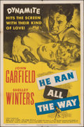 "Movie Posters:Film Noir, He Ran All the Way (United Artists, 1951). Folded, Fine+. One Sheet (27"" X 41""), Title Lobby Card (11"" X 14""), & Trimmed Lob... (Total: 3 Items)"
