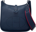 """Luxury Accessories:Bags, Hermès Blue Nuit Togo Leather Evelyne III PM Bag with Palladium Hardware. D, 2019. Condition: 2. 11"""" Width x 11"""" H..."""