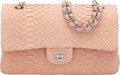 "Luxury Accessories:Bags, Chanel Light Pink Python Medium Double Flap Bag with Silver Hardware. Condition: 4. 10"" Width x 6"" Height x 2.5"" Depth..."