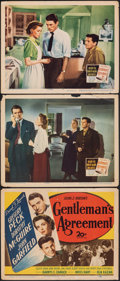 "Movie Posters:Academy Award Winners, Gentleman's Agreement (20th Century Fox, 1947). Fine-. Title Lobby Card & Lobby Cards (2) (11"" X 14""). Academy Award Winners... (Total: 3 Items)"