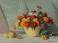 Paintings, Adam Lehr (American, 1853-1924). Floral Still Life. Oil on board. 24-3/4 x 32-1/2 inches (62.9 x 82.6 cm). Signed lower ...