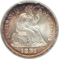 1891 10C MS67 PCGS. PCGS Population: (11/0 and 3/0+). NGC Census: (20/1 and 0/0+). CDN: $1,700 Whsle. Bid for NGC/PCGS M...