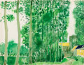 Works on Paper, André Brasilier (French, b. 1929). Eglise, 1969. Watercolor on paper. 19-3/4 x 25-3/4 inches (50.2 x 65.4 cm). Signed an...