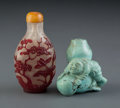 Carvings, A Chinese Red Glass Overlay Snuff Bottle and a Carved Turquoise Snuff Bottle, 19th century. 3 x 2 x 1-1/4 inches (7.6 x 5.1 ... (Total: 2 Items)