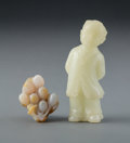 Carvings, A Group of Two Jade Carvings of a Boy and Grape Cluster, early 20th century. 3-1/4 x 1-3/4 x 1 inches (8.3 x 4.4 x 2.5 cm) (... (Total: 2 Items)