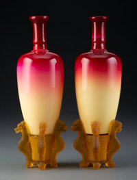 Near Pair of Hobbs, Brockunier & Co. Peachblow Glass Morgan Vases on Stands, 1886-1891 7-3/4 inches (19.7 cm) (each...