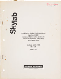 Skylab: Martin Marietta Book Titled Experiment Operations Handbook, Experiment 509, Directly from the Personal