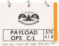 """Explorers:Space Exploration, Space Shuttle Challenger (STS-41-B) Flown NASA """"Payload Ops Checklist"""" Book (Partial) Direct..."""