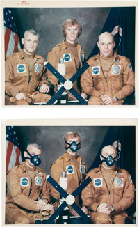 """Skylab I (SL-2): Original NASA """"Red Number"""" Crew Color Photo with Humorous """"Gag"""" Image, both from th..."""