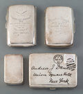 Silver & Vertu:Other Silver, A Group of Four Silver Boxes, 19th century and later. Marks to largest: W.T, (lion passant), (leopard's head), THORNHI... (Total: 4 Items)
