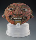 Other, A Mongolian Dharmapala Begtse Coral, Turquoise, and Copper Mask with Stand, 19th century . 12 x 14 inches (30.5 ...