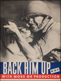 "Movie Posters:War, World War II Propaganda (General Electric, 1943). Rolled, Fine/Very Fine. Poster (36.5"" X 49"") ""Back Him Up."" War.. ..."
