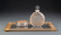 R. Lalique Clear Glass Le Lys Perfume Bottle, Covered Box, and Tray for D'Orsay with Sepia P