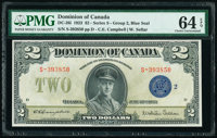 Canada Dominion of Canada $2 23.6.1923 Pick 34i DC-26i PMG Choice Uncirculated 64 EPQ