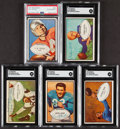 Autographs:Sports Cards, 1953 Bowman Football Signed Collection (5). Offere...