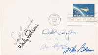 """Mercury Seven Astronauts: """"Project Mercury"""" Launch / First Day Cover Cancelled at Cape Canaveral, Signed by Si..."""