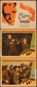 """Movie Posters:War, The Fighting 69th & Other Lot (Warner Bros., 1940). Very Good+. Linen Finish Lobby Cards (2) & Title Card (11"""" X 14""""). War.... (Total: 3 Items)"""