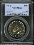 Kennedy Half Dollars: , 1989-D MS66 PCGS. ...