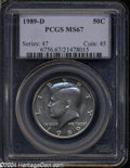 Kennedy Half Dollars: , 1989-D MS67 PCGS. ...