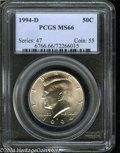 Kennedy Half Dollars: , 1994-D MS66 PCGS. ...