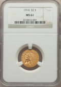Indian Quarter Eagles, 1914 $2 1/2 MS61 NGC. NGC Census: (2357/1299). PCGS Population: (1145/1232). CDN: $500 Whsle. Bid for NGC/PCGS MS61. Mintag...