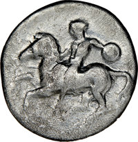 Ancients: CALABRIA. Tarentum. Ca. 425-380. AR stater or didrachm (23mm, 5h). NGC VG, graffito