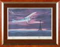 "Explorers:Space Exploration, Neil Armstrong, Alan Shepard, James Lovell, and Jimmy Doolittle Signed Limited Edition ""Lindbergh Arrives in Paris"" Print by R..."