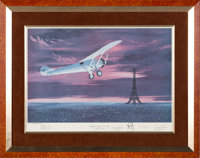 "Neil Armstrong, Alan Shepard, James Lovell, and Jimmy Doolittle Signed Limited Edition ""Lindbergh Arrives in Paris&..."
