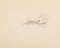 Animation Art:Production Drawing, Steamboat Willie Mickey Mouse Animation Drawing with Dave Smith Letter (Walt Disney, 1928).... (Total: 2 Items)
