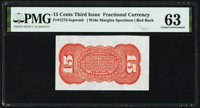 Fr. 1273SP 15¢ Third Issue Wide Margin Back PMG Choice Uncirculated 63