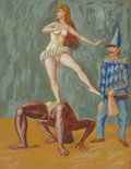 Works on Paper:Contemporary, Raúl Anguiano (1915-2006). Untitled (Circus Act), 1943. Gouache on paper. 26 x 19-1/2 inches (66.0 x 49.5 cm). Signed an...