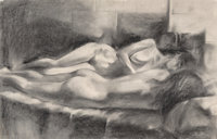 John Currin (b. 1962) Female Nudes, 1981 Charcoal on paper 30 x 19-1/4 inches (76.2 x 48.9 cm) (s