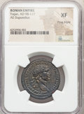 Ancients:Roman Imperial, Ancients: Trajan (AD 98-117). AE dupondius (29mm, 6h). NGC XF, Fine Style. ...