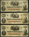 Confederate Notes:1862 Issues, T41 $100 1862 Three Examples Very Fine or Better.. ... (Total: 3 notes)