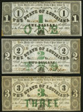 Obsoletes By State:Louisiana, Baton Rouge, LA- State of Louisiana $1; $2; $3 Feb. 24, 1862 Cr. 8; Cr. 6; Cr. 4 Very Fine or Better.. ... (Total: 3 notes)