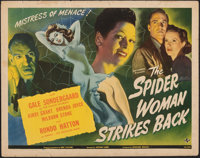 "The Spider Woman Strikes Back (Universal, 1946). Rolled, Fine+. Half Sheet (22"" X 28""). Horror"