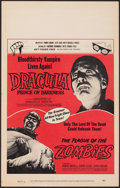 "Movie Posters:Horror, Dracula, Prince of Darkness/The Plague of the Zombies Combo (20th Century Fox, 1966). Very Fine+. Window Card (14"" X 22""). H..."