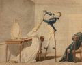 Prints & Multiples, After Auguste Garneray (French, 1785-1824). Boy on Stilts Coiffing a Woman's hair, 1815. Relief print ...