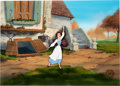 Animation Art:Painted cel background, Beauty and the Beast Presentation Cel and Production Background (Walt Disney, 1991)....