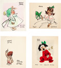Animation Art:Production Drawing, Fred Moore - Hand-Drawn Christmas Cards Group of 4 (Walt Disney, c. 1940s-early 1950s).... (Total: 4 Original Art)