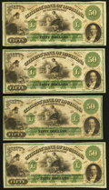 Obsoletes By State:Louisiana, Shreveport, LA- Citizens' Bank of Louisiana at Shreveport $50 18__, Four Remainders Choice About Uncirculated or Better.... (Total: 4 notes)