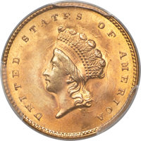 1855 G$1 Type Two MS66 PCGS....(PCGS# 7532)