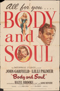 "Movie Posters:Film Noir, Body and Soul (United Artists, 1947). Folded, Fine. One Sheet (27"" X 41""). Film Noir.. ..."